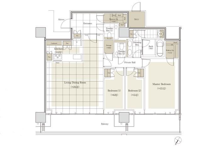 高級マンションリビング・玄関・間取り・内装